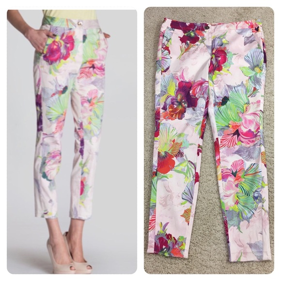 3688e5039d4d ted baker Orchid printed trousers. M 5b5a5292129955a78525f461